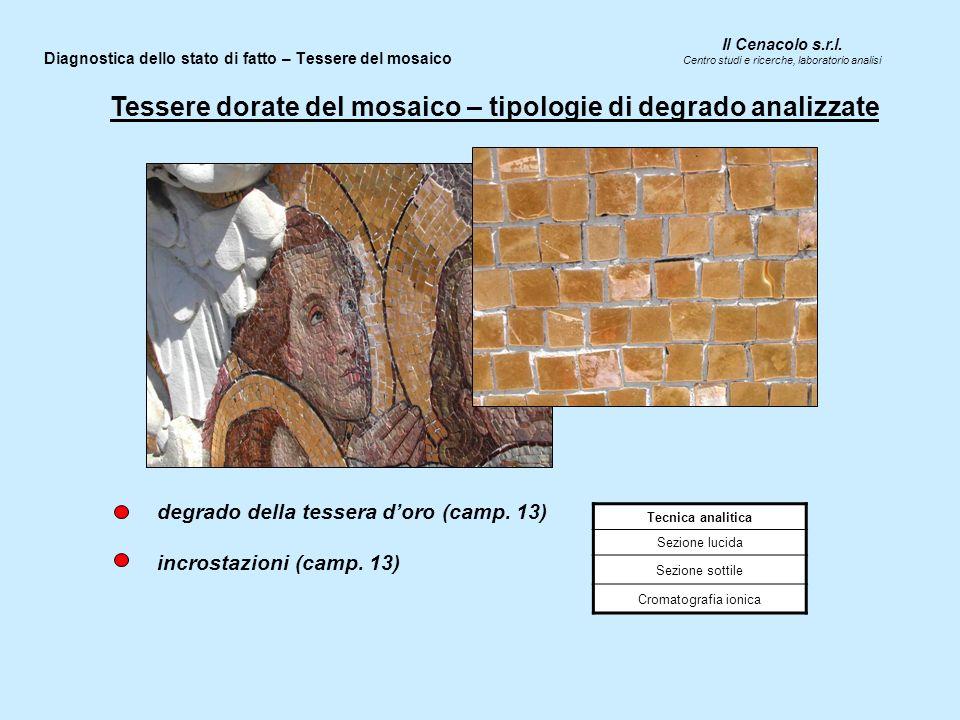 Il Cenacolo s.r.l. Centro studi e ricerche, laboratorio analisi Diagnostica dello stato di fatto – Tessere del mosaico Tecnica analitica Sezione lucid