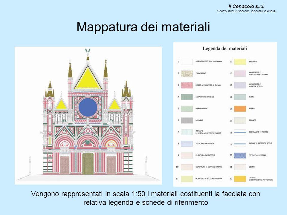 Mappatura dei materiali Vengono rappresentati in scala 1:50 i materiali costituenti la facciata con relativa legenda e schede di riferimento Il Cenaco