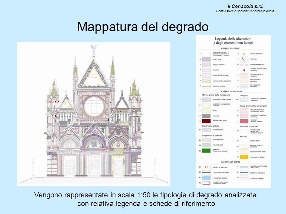 Mappatura del degrado Vengono rappresentate in scala 1:50 le tipologie di degrado analizzate con relativa legenda e schede di riferimento Il Cenacolo