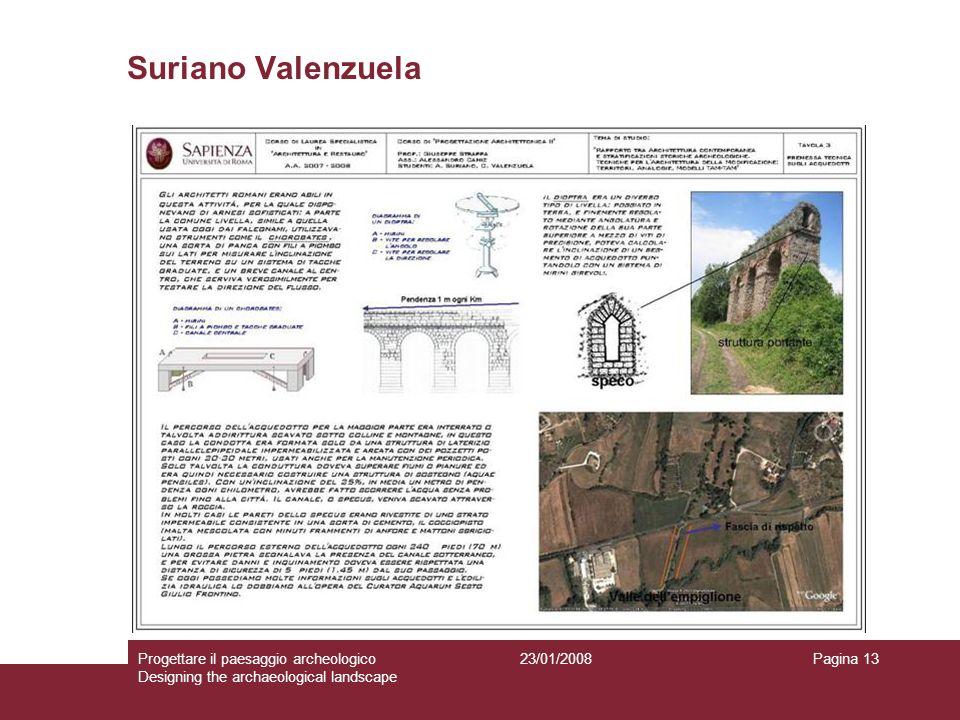 23/01/2008Progettare il paesaggio archeologico Designing the archaeological landscape Pagina 13 Suriano Valenzuela