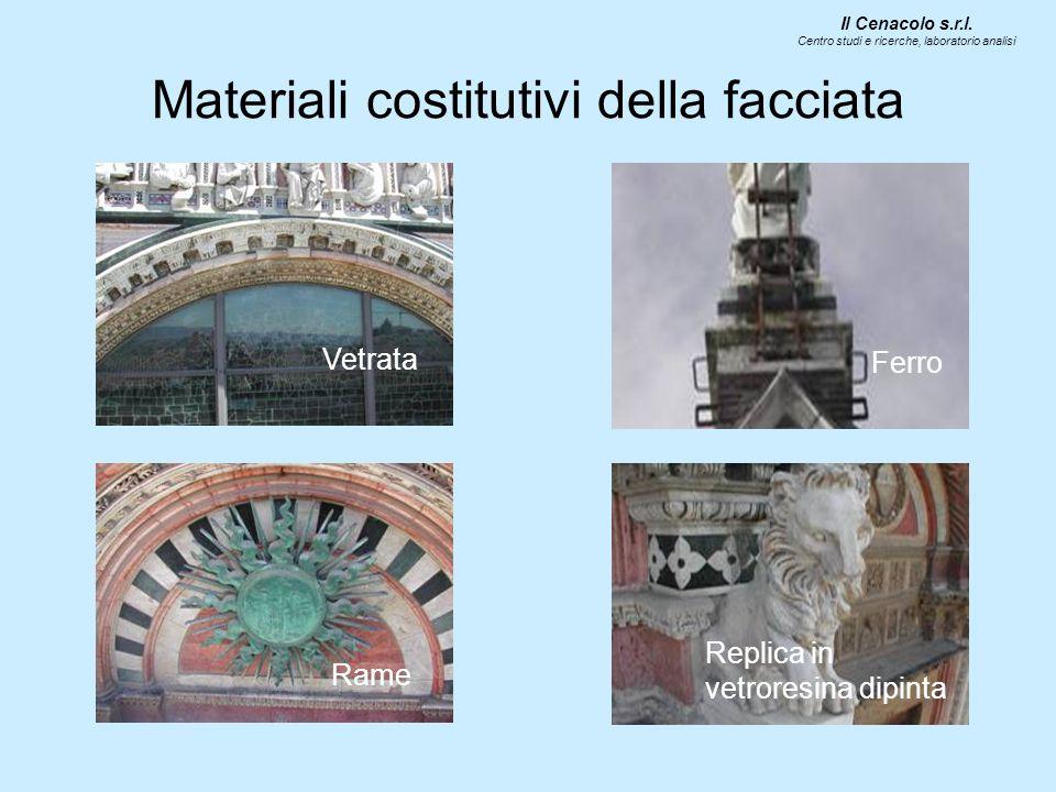 Materiali costitutivi della facciata Vetrata Rame Ferro Replica in vetroresina dipinta Il Cenacolo s.r.l.