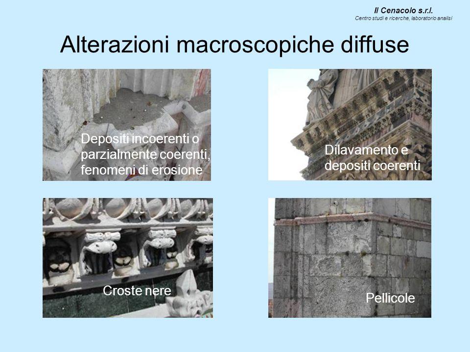 Alterazioni macroscopiche diffuse Depositi incoerenti o parzialmente coerenti, fenomeni di erosione Croste nere Dilavamento e depositi coerenti Pellicole Il Cenacolo s.r.l.