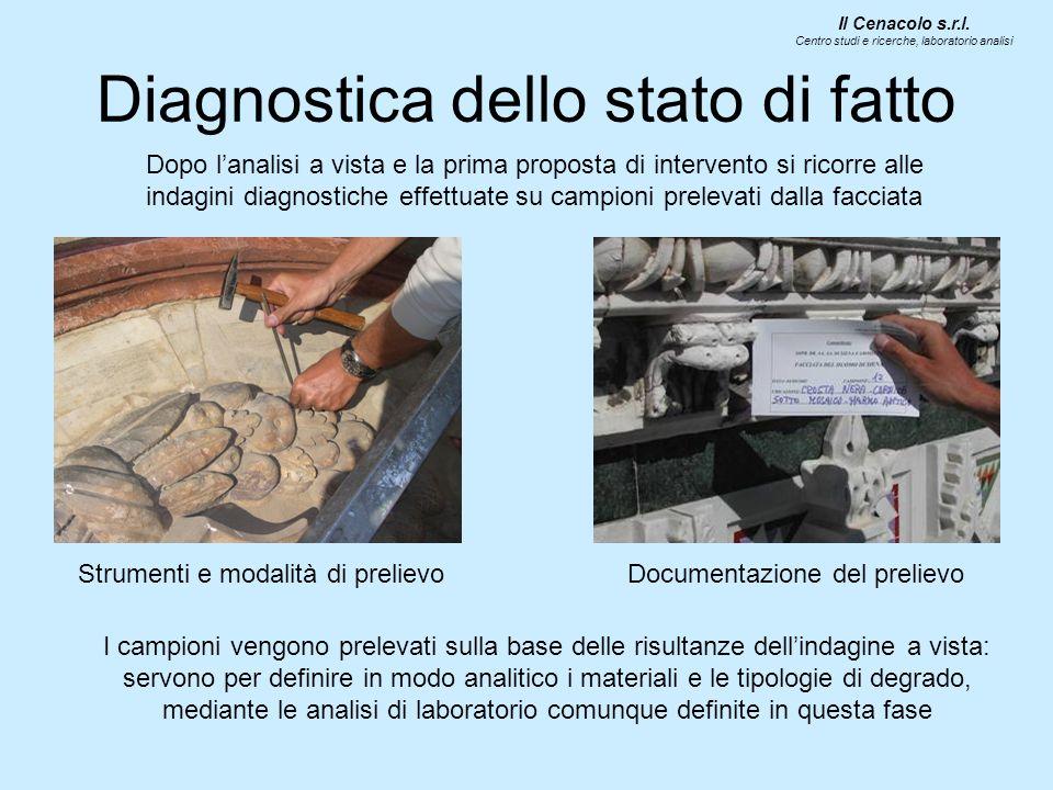 Diagnostica dello stato di fatto Dopo lanalisi a vista e la prima proposta di intervento si ricorre alle indagini diagnostiche effettuate su campioni