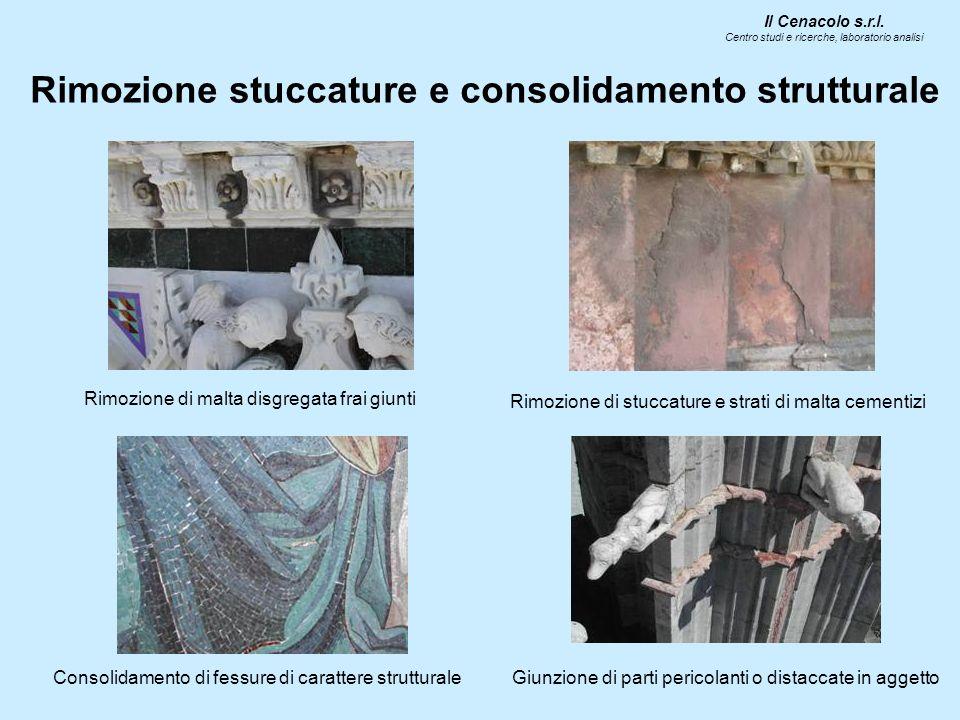Rimozione stuccature e consolidamento strutturale Il Cenacolo s.r.l. Centro studi e ricerche, laboratorio analisi Rimozione di malta disgregata frai g
