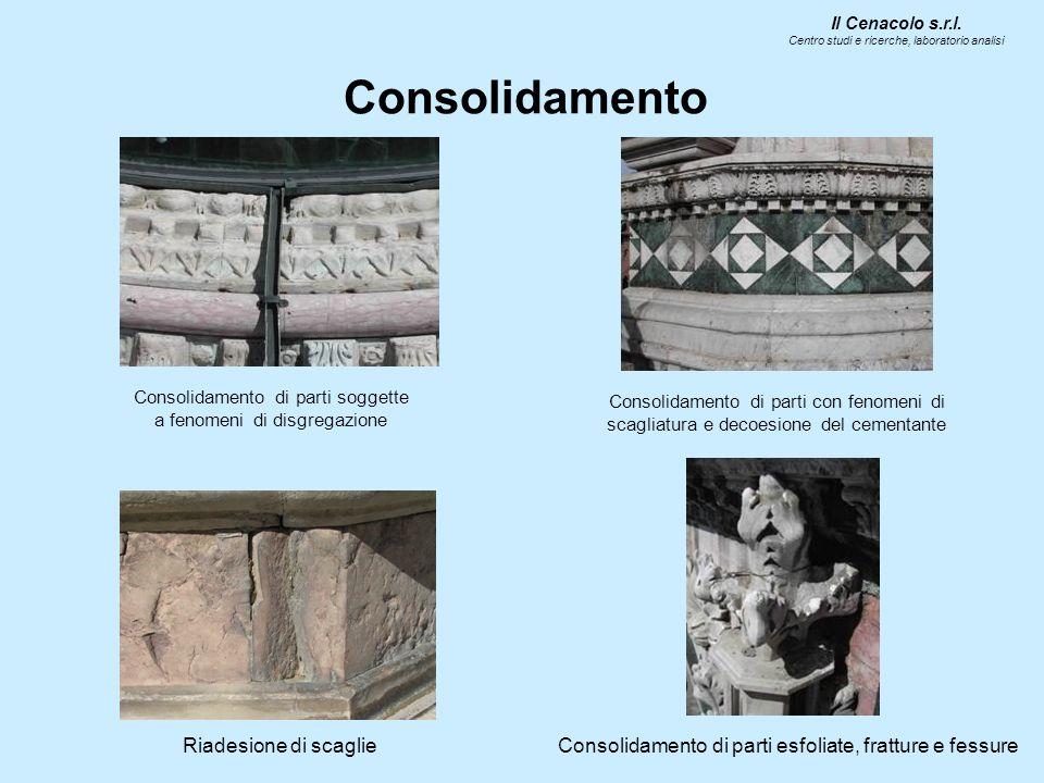 Consolidamento Il Cenacolo s.r.l. Centro studi e ricerche, laboratorio analisi Consolidamento di parti soggette a fenomeni di disgregazione Consolidam