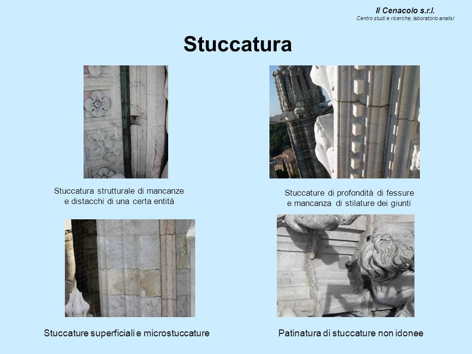 Stuccatura Il Cenacolo s.r.l. Centro studi e ricerche, laboratorio analisi Stuccatura strutturale di mancanze e distacchi di una certa entità Stuccatu