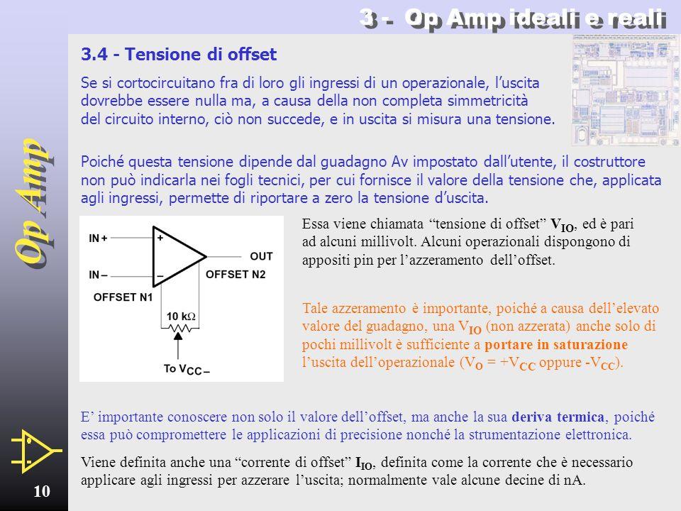 Op Amp 9 3 - Op Amp ideali e reali Come di vede qui a sinistra per lOp Amp HA2520, il prodotto guadagno-larghezza di banda può infatti variare in funz