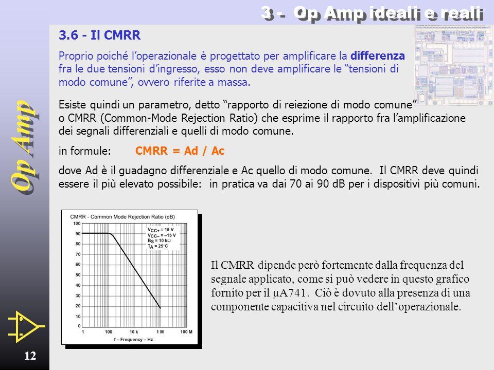 Op Amp 11 3.5 - Resistenza e corrente dingresso Lamplificatore operazionale è costruito in modo da presentare una resistenza dingresso pressoché infin