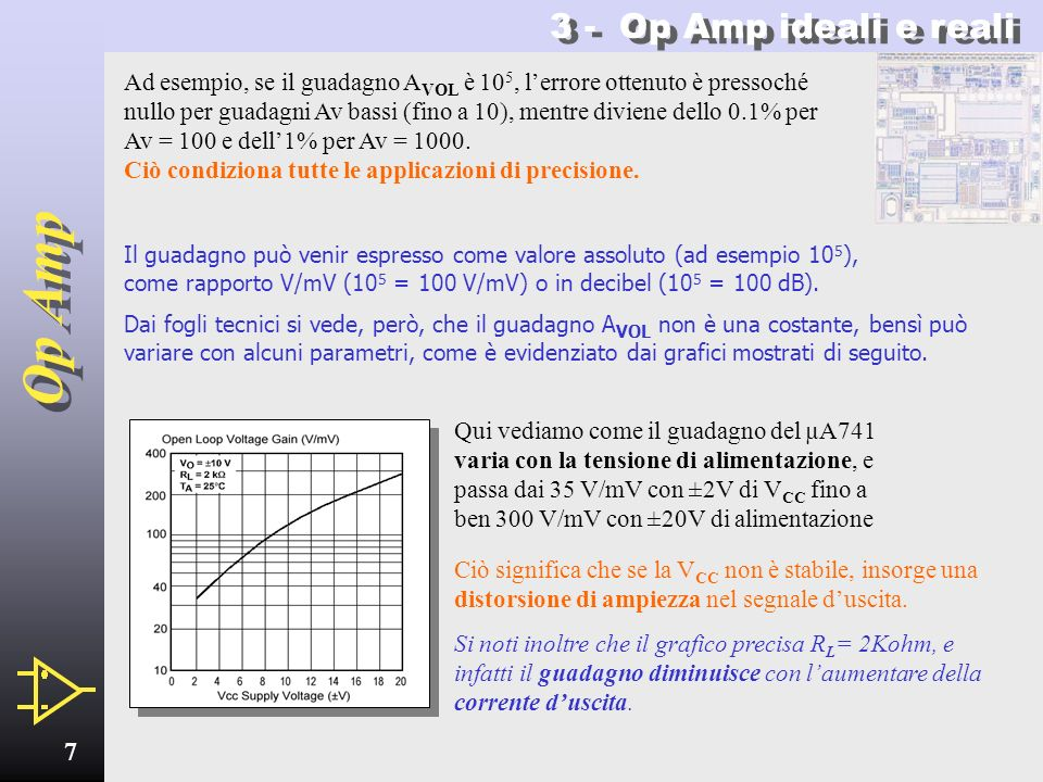 Op Amp 6 3 - Op Amp ideali e reali Parametrosimboloidealereale Guadagno a catena apertaA VOL infinito10 5 (100 dB) Resistenza dingressoR I infinita1 M