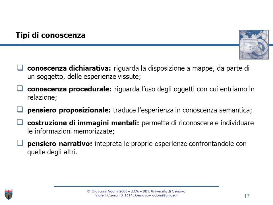 conoscenza dichiarativa: riguarda la disposizione a mappe, da parte di un soggetto, delle esperienze vissute; conoscenza procedurale: riguarda luso de