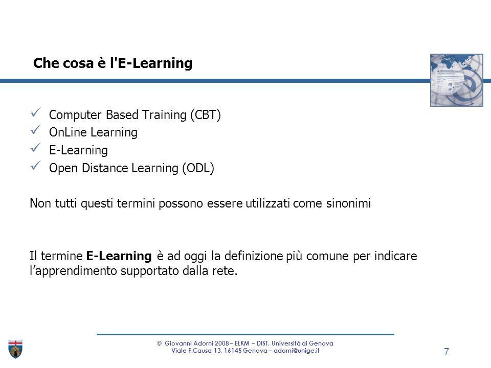 Computer Based Training (CBT) OnLine Learning E-Learning Open Distance Learning (ODL) Non tutti questi termini possono essere utilizzati come sinonimi