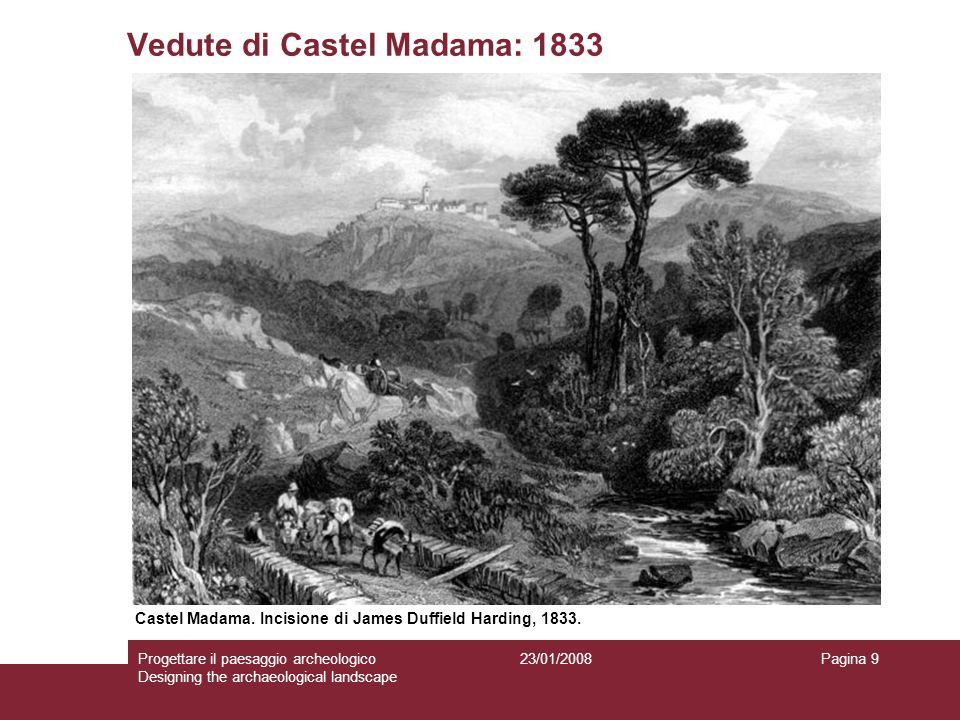 23/01/2008Progettare il paesaggio archeologico Designing the archaeological landscape Pagina 9 Vedute di Castel Madama: 1833 Castel Madama. Incisione