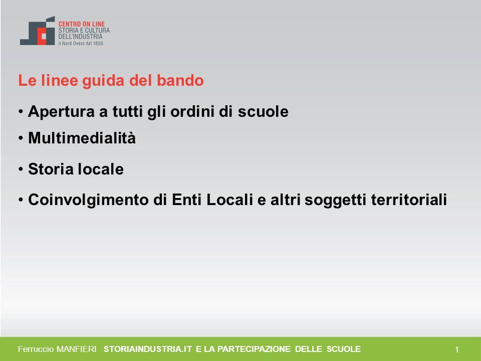 0 Storiaindustria.it e la partecipazione delle scuole Ferruccio Manfieri Gruppo di lavoro del CSI-Piemonte