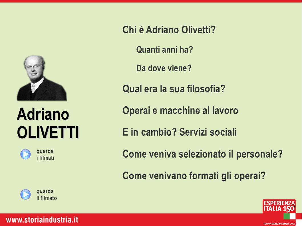 Adriano OLIVETTI Chi è Adriano Olivetti? Quanti anni ha? Da dove viene? Qual era la sua filosofia? Operai e macchine al lavoro E in cambio? Servizi so