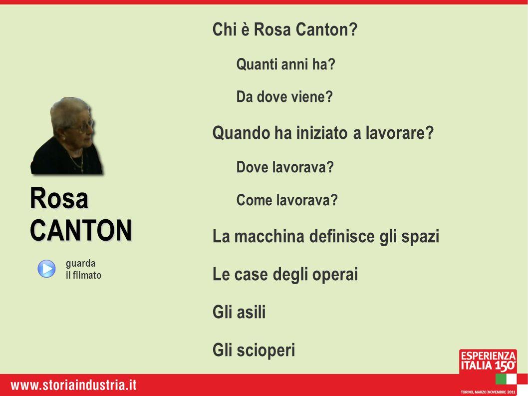 Rosa CANTON Chi è Rosa Canton? Quanti anni ha? Da dove viene? Quando ha iniziato a lavorare? Dove lavorava? Come lavorava? La macchina definisce gli s