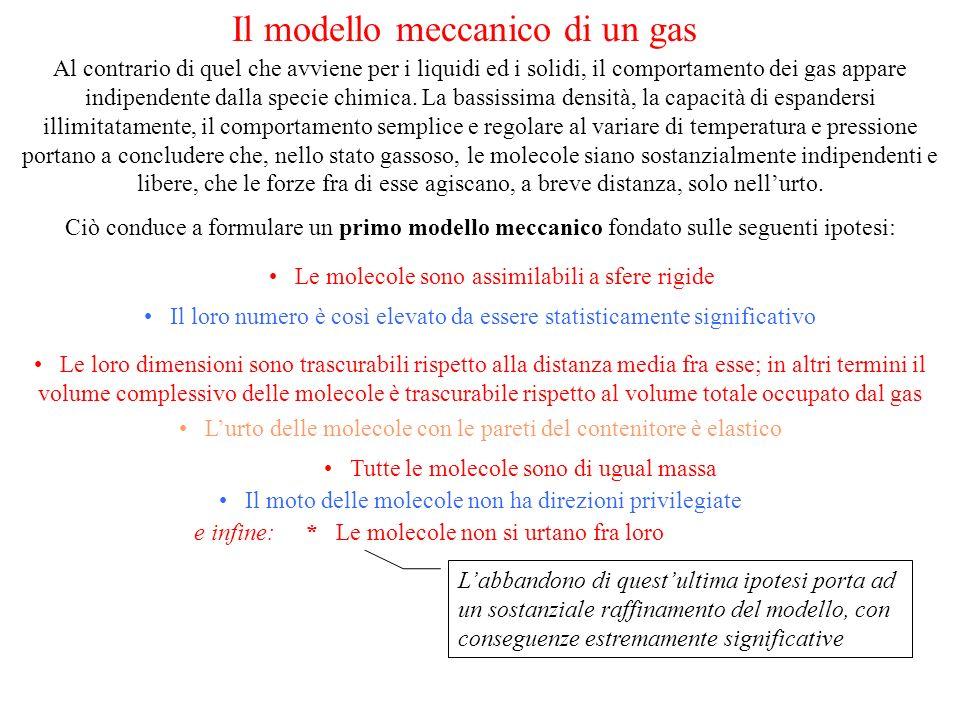 r = raggio molecolare n = numero di molecole per unità di volume = velocità media Si può dimostrare che la frequenza durto (numero di collisioni al secondo) è data da: e che il cammino libero medio (distanza media percorsa tra un urto e il successivo) è : Nel 1856 R.Clausius determinò, proprio in base alle velocità di diffusione dei gas e ad altri dati sperimentali, lordine di grandezza delle dimensioni molecolari: Si tratta della prima misura indiretta delle dimensioni di particelle microscopiche, fino ad allora solamente ipotizzate !