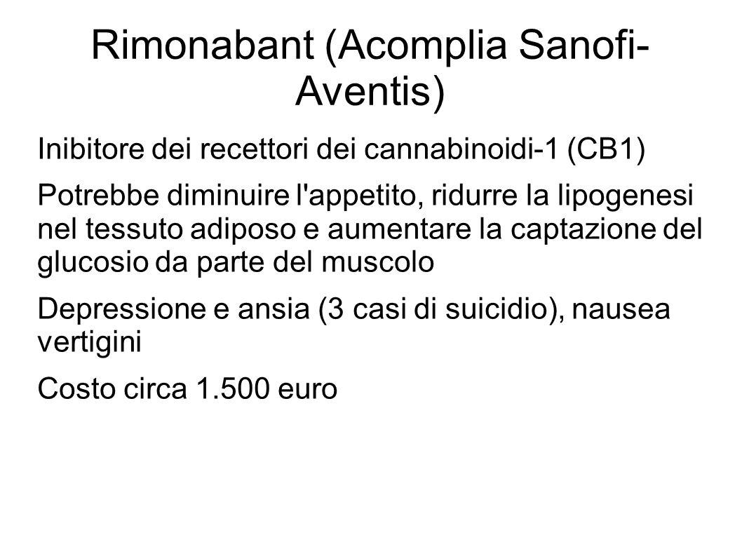 Rimonabant (Acomplia Sanofi- Aventis) Inibitore dei recettori dei cannabinoidi-1 (CB1) Potrebbe diminuire l'appetito, ridurre la lipogenesi nel tessut