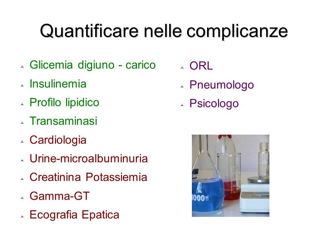 Quantificare nelle complicanze Glicemia digiuno - carico Insulinemia Profilo lipidico Transaminasi Cardiologia Urine-microalbuminuria Creatinina Potas