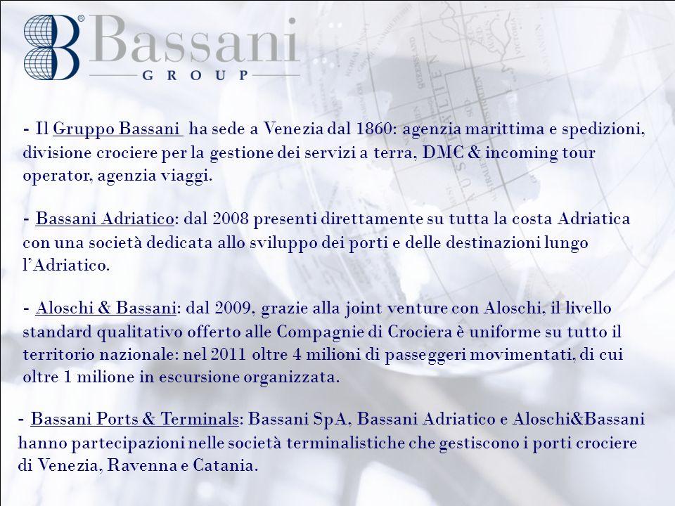 - Il Gruppo Bassani ha sede a Venezia dal 1860: agenzia marittima e spedizioni, divisione crociere per la gestione dei servizi a terra, DMC & incoming tour operator, agenzia viaggi.