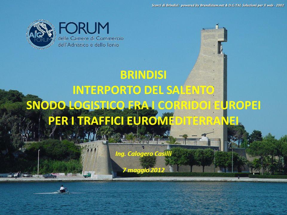 BRINDISI INTERPORTO DEL SALENTO SNODO LOGISTICO FRA I CORRIDOI EUROPEI PER I TRAFFICI EUROMEDITERRANEI Martedì 7 giugno 2012 Ing. Calogero Casilli 7 m