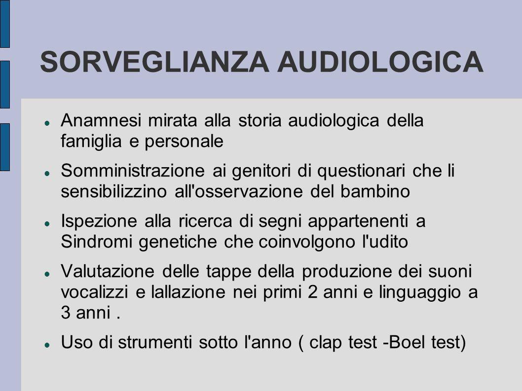 SORVEGLIANZA AUDIOLOGICA Anamnesi mirata alla storia audiologica della famiglia e personale Somministrazione ai genitori di questionari che li sensibi