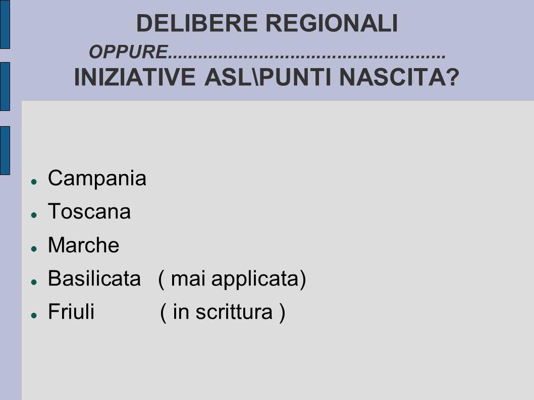 DELIBERE REGIONALI OPPURE...................................................... INIZIATIVE ASL\PUNTI NASCITA? Campania Toscana Marche Basilicata ( mai