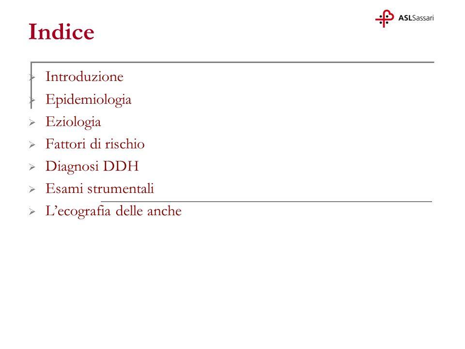 Introduzione Epidemiologia Eziologia Fattori di rischio Diagnosi DDH Esami strumentali Lecografia delle anche Indice
