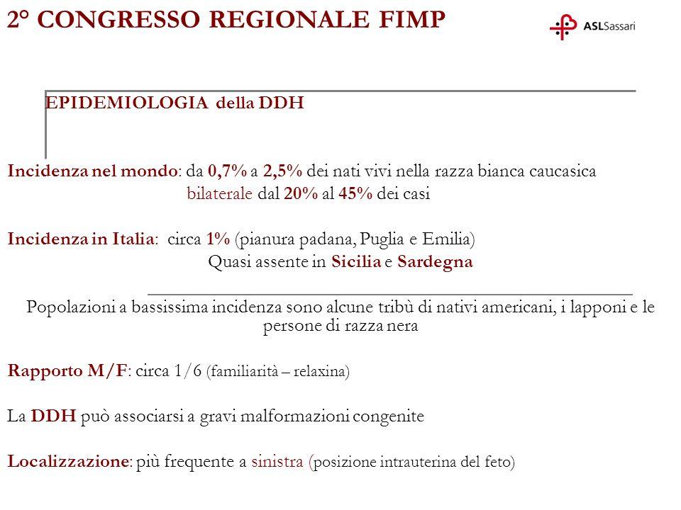 2° CONGRESSO REGIONALE FIMP EPIDEMIOLOGIA della DDH Incidenza nel mondo: da 0,7% a 2,5% dei nati vivi nella razza bianca caucasica bilaterale dal 20%