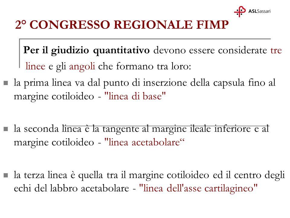 2° CONGRESSO REGIONALE FIMP Per il giudizio quantitativo devono essere considerate tre linee e gli angoli che formano tra loro: la prima linea va dal