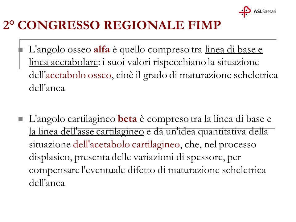 2° CONGRESSO REGIONALE FIMP L'angolo osseo alfa è quello compreso tra linea di base e linea acetabolare: i suoi valori rispecchiano la situazione dell