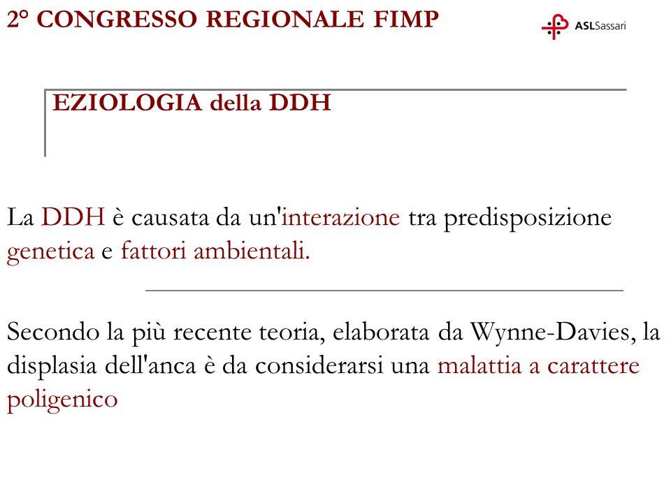 2° CONGRESSO REGIONALE FIMP EZIOLOGIA della DDH La DDH è causata da un'interazione tra predisposizione genetica e fattori ambientali. Secondo la più r