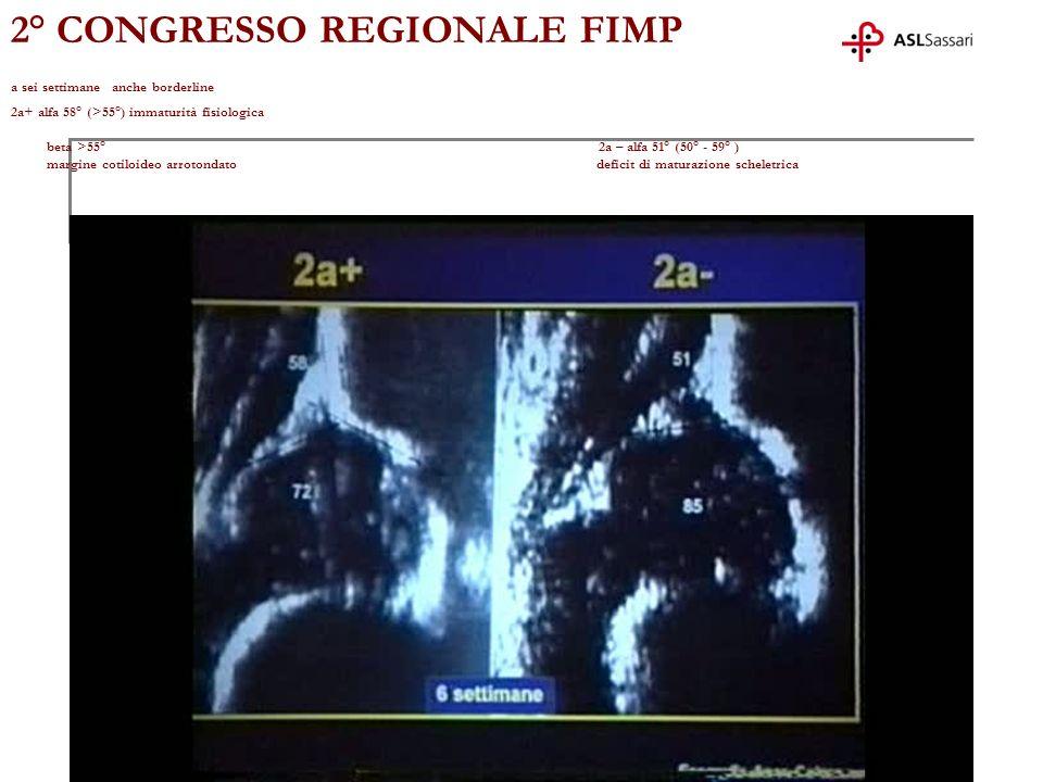 2° CONGRESSO REGIONALE FIMP a sei settimane anche borderline 2a+ alfa 58° (>55°) immaturità fisiologica beta >55° 2a – alfa 51° (50° - 59° ) margine c