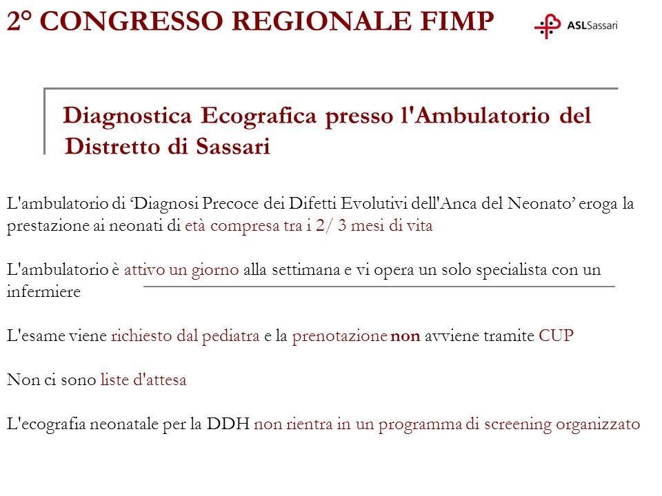 Diagnostica Ecografica presso l'Ambulatorio del Distretto di Sassari L'ambulatorio di Diagnosi Precoce dei Difetti Evolutivi dell'Anca del Neonato ero