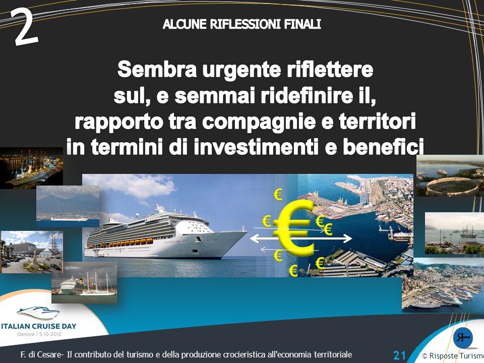 © Risposte Turismo F. di Cesare- Il contributo del turismo e della produzione crocieristica all'economia territoriale © Risposte Turismo 21