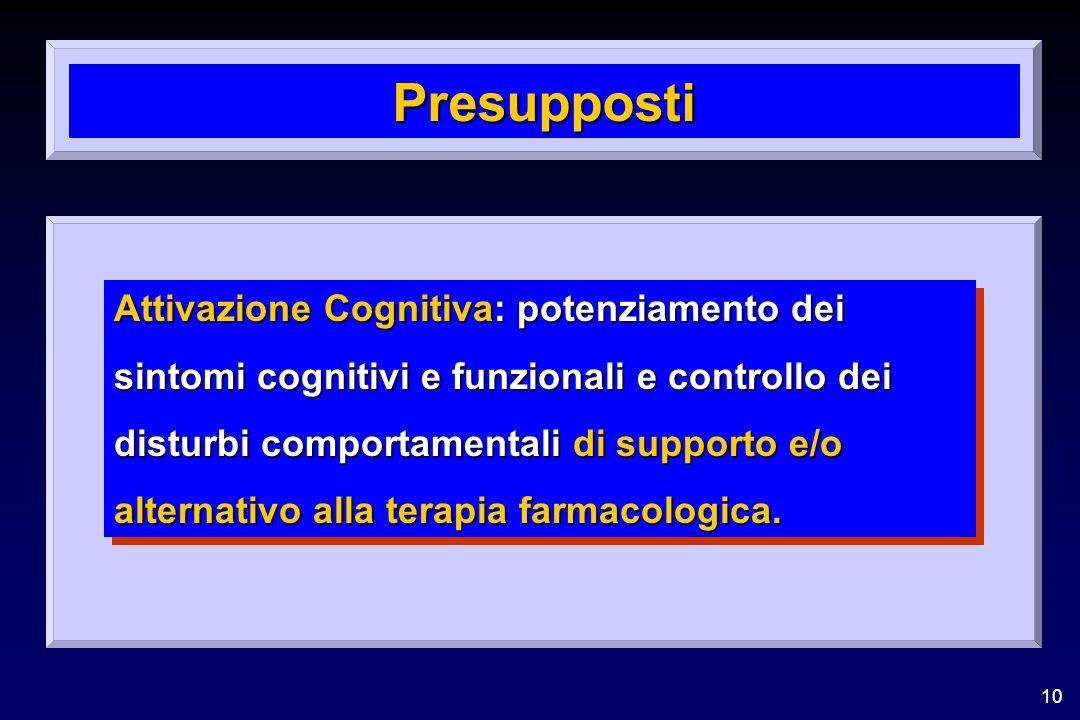 10 Presupposti Attivazione Cognitiva: potenziamento dei sintomi cognitivi e funzionali e controllo dei disturbi comportamentali di supporto e/o alternativo alla terapia farmacologica.