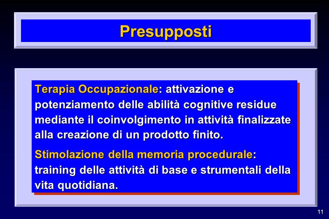 11 Presupposti Terapia Occupazionale: attivazione e potenziamento delle abilità cognitive residue mediante il coinvolgimento in attività finalizzate alla creazione di un prodotto finito.