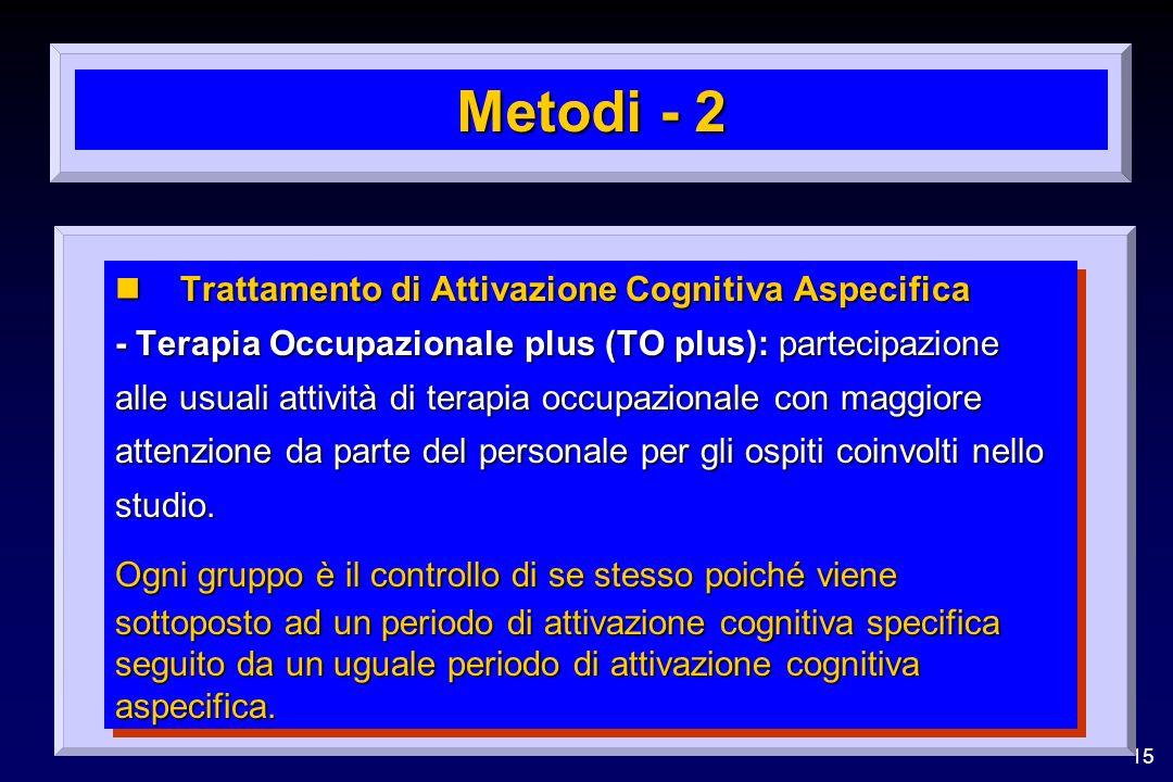 15 Metodi - 2 nTrattamento di Attivazione Cognitiva Aspecifica - Terapia Occupazionale plus (TO plus): partecipazione alle usuali attività di terapia