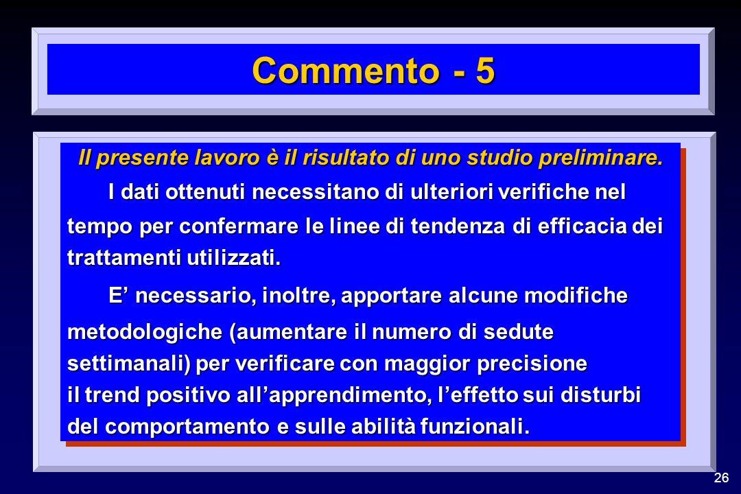 26 Commento - 5 Il presente lavoro è il risultato di uno studio preliminare. I dati ottenuti necessitano di ulteriori verifiche nel tempo per conferma