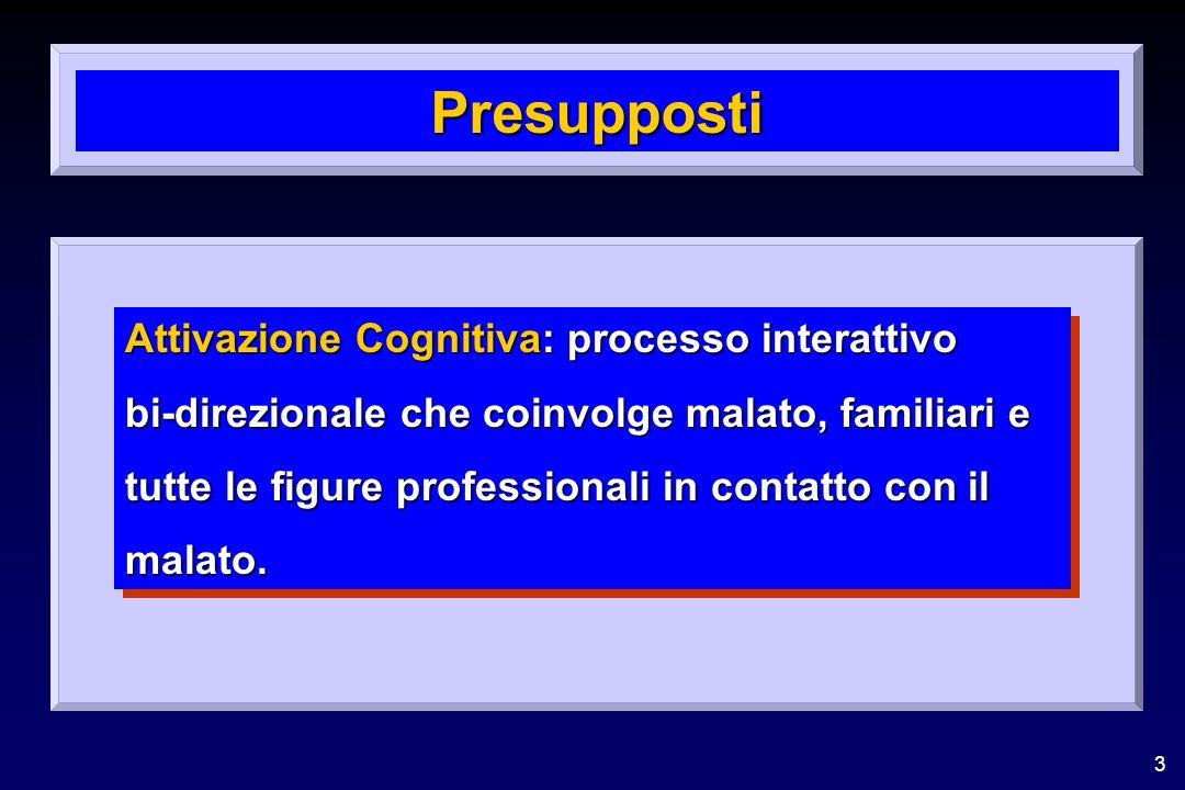3 Presupposti Attivazione Cognitiva: processo interattivo bi-direzionale che coinvolge malato, familiari e tutte le figure professionali in contatto con il malato.
