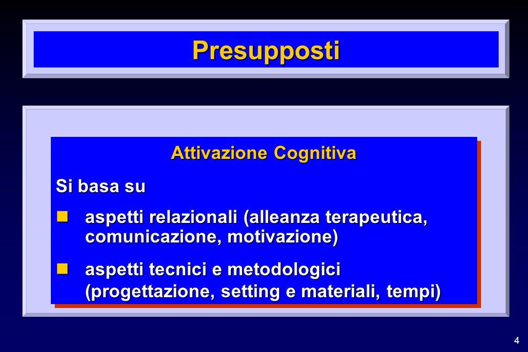 4 Presupposti Attivazione Cognitiva Si basa su naspetti relazionali (alleanza terapeutica, comunicazione, motivazione) naspetti tecnici e metodologici