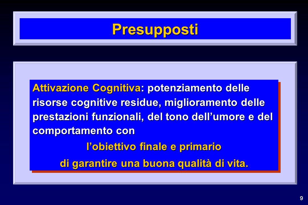 9 Presupposti Attivazione Cognitiva: potenziamento delle risorse cognitive residue, miglioramento delle prestazioni funzionali, del tono dellumore e del comportamento con lobiettivo finale e primario di garantire una buona qualità di vita.