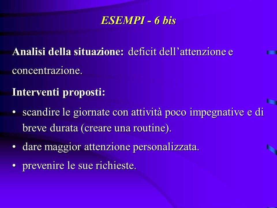 ESEMPI - 7: reazioni catastrofiche E.signora di 80 anni istituzionalizzata.