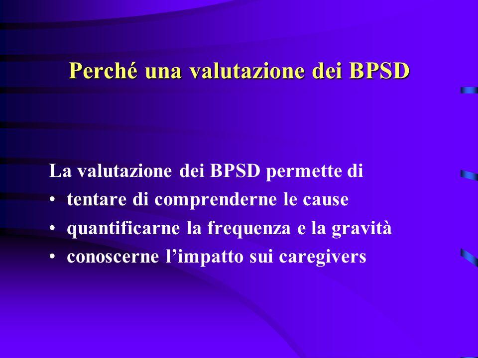 Quando i BPSD richiedono un trattamento quando diventano fonte di stress per il paziente e/o per il caregiver quando diventano fonte di pericolo per il paziente stesso o per gli altri quando interferiscono con la socializzazione, le attività della vita quotidiana e riducono la qualità della vita