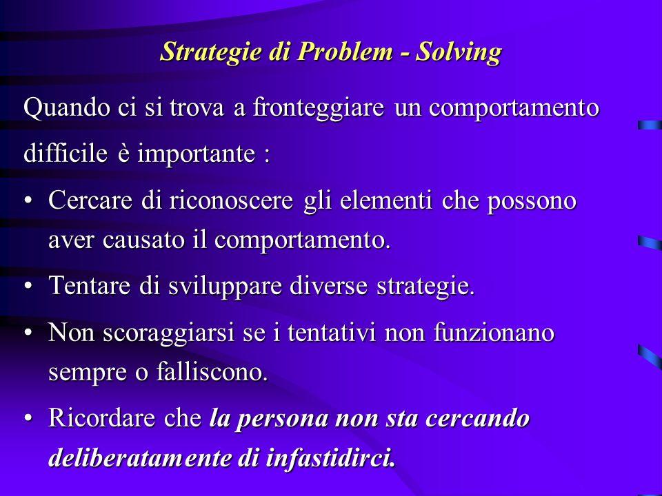 Strategie di Problem - Solving Quando ci si trova a fronteggiare un comportamento difficile è importante : Cercare di riconoscere gli elementi che pos