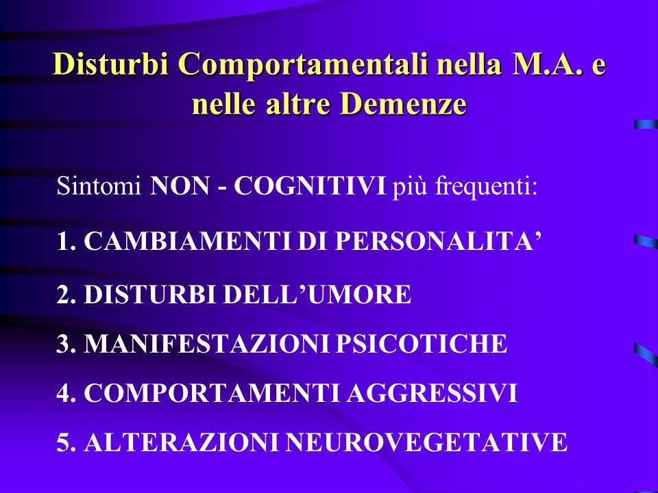 Disturbi Comportamentali nella M.A. e nelle altre Demenze Sintomi NON - COGNITIVI più frequenti: 1. CAMBIAMENTI DI PERSONALITA 2. DISTURBI DELLUMORE 3