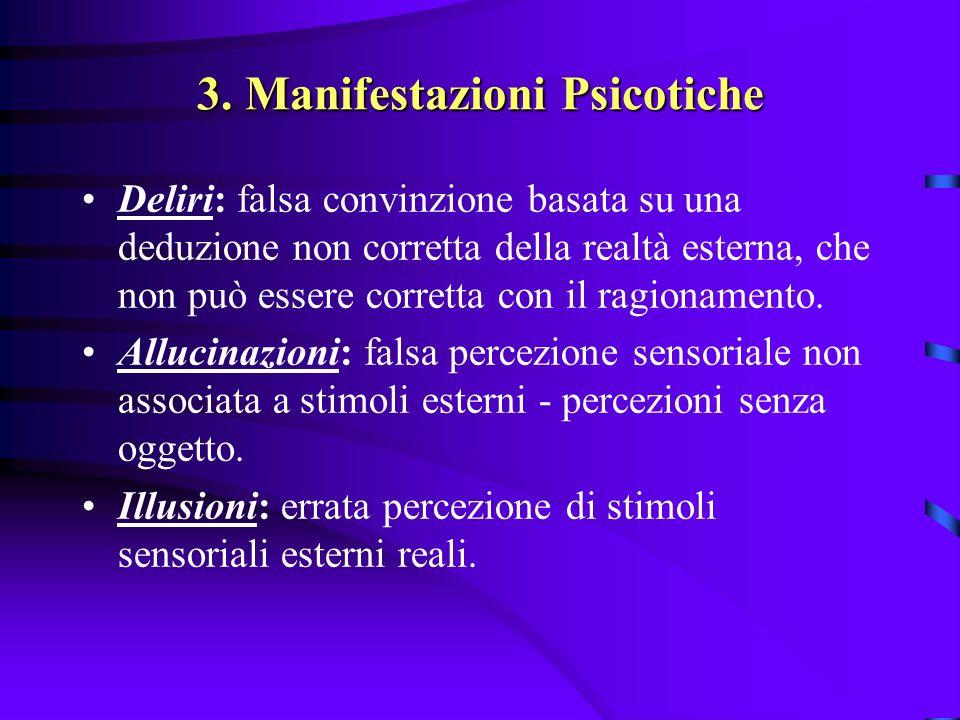 3. Manifestazioni Psicotiche Deliri: falsa convinzione basata su una deduzione non corretta della realtà esterna, che non può essere corretta con il r