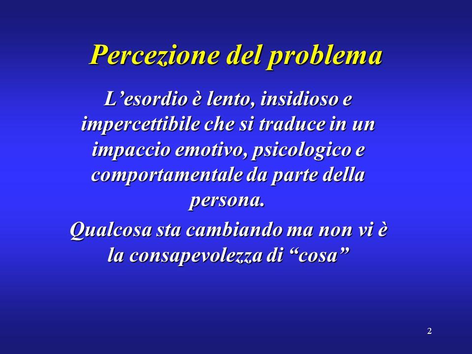 2 Percezione del problema Lesordio è lento, insidioso e impercettibile che si traduce in un impaccio emotivo, psicologico e comportamentale da parte della persona.
