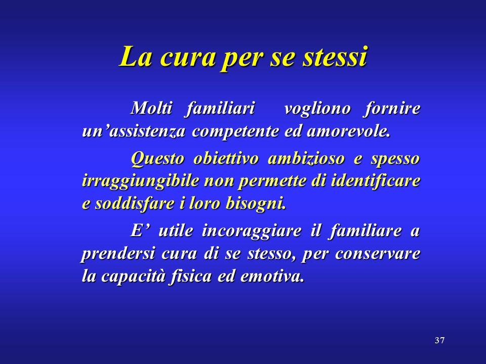 37 La cura per se stessi Molti familiari vogliono fornire unassistenza competente ed amorevole.