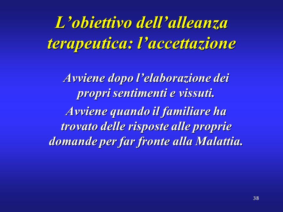 38 Lobiettivo dellalleanza terapeutica: laccettazione Avviene dopo lelaborazione dei propri sentimenti e vissuti.