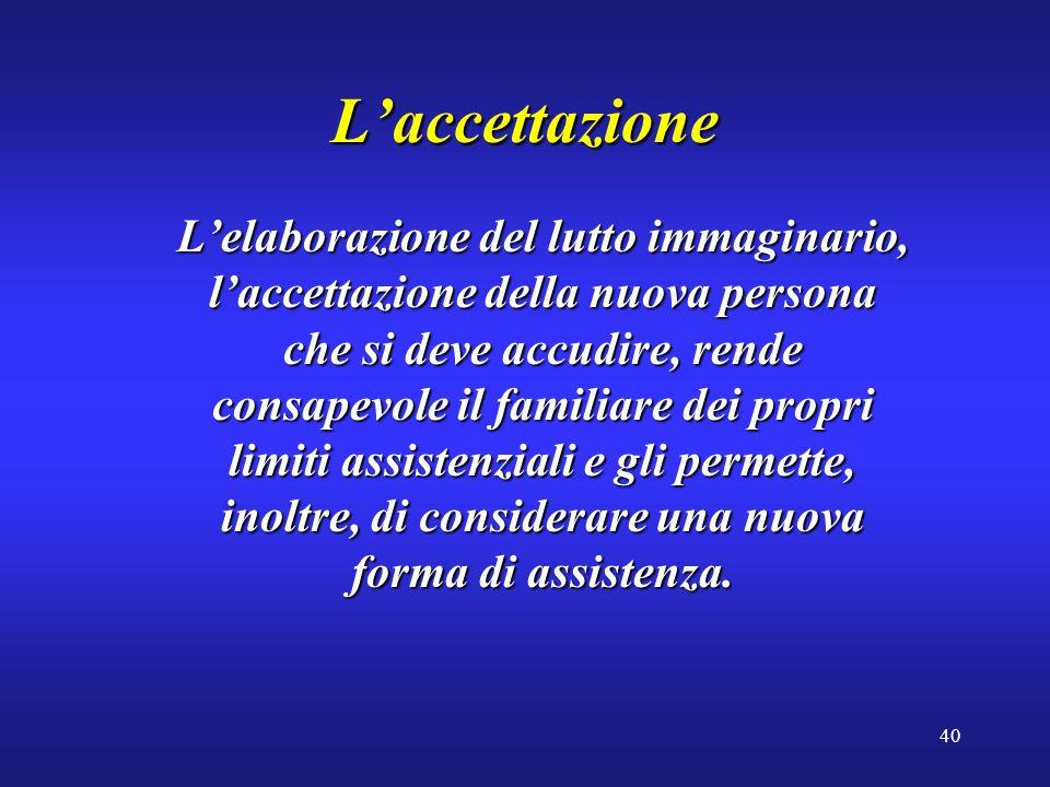 40 Laccettazione Lelaborazione del lutto immaginario, laccettazione della nuova persona che si deve accudire, rende consapevole il familiare dei propr